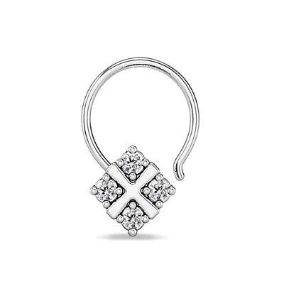 Diamond Flower Nose Piercing Stud Ring Pin Daily Wear Gift 14k