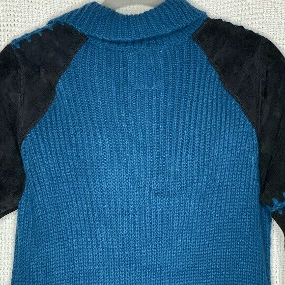 One Teaspoon Cardigan Sweater Suede Sleeves - image 4