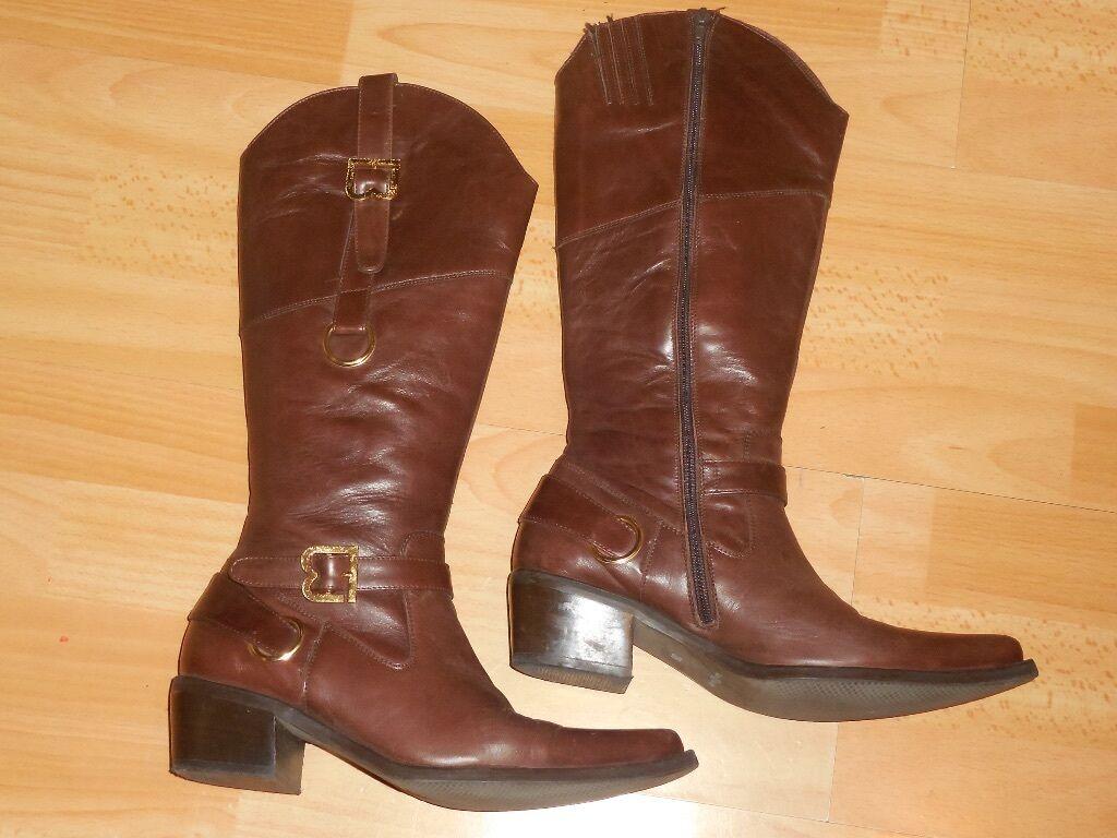 Laura Biagiotti bottes cavalières style Santiag western cuir 37 38