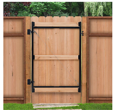 Steel Frame Gate Kit Wood Composite Fence Gate Heavy Duty Hinges Latch  Outdoor | eBay