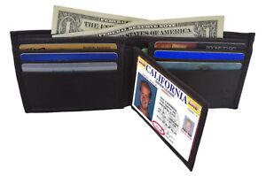 Black-Genuine-Leather-Men-039-s-Wallet-Bifold-Center-Flap-Thin-Card-Holder