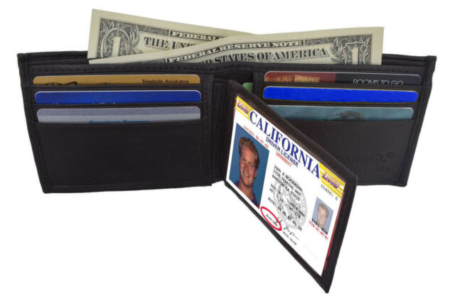 Black Genuine Leather Mens Bifold Wallet Center Flap Thin Card Holder^^
