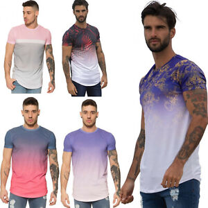 Enzo-Mens-Fitted-T-Shirt-Contrast-Fade-2-Tone-Short-Sleeve-Polyester-Summer-Tee
