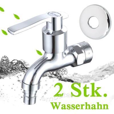"""2 stk Wasserhahn 1//2/"""" Kalt Armatur Wandmontage Auslaufventil Bad Gartenhahn DE"""