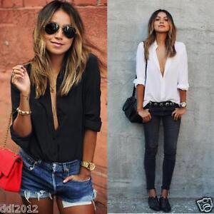 Women-Casual-Chiffon-V-neck-Top-Long-Sleeve-Shirt-Casual-Blouse-Loose-T-shirt-AU