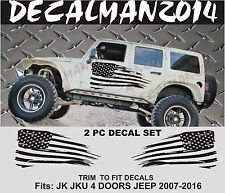 2 Jeep Wrangler 4 Doors JK JKU 07-16 Side vinyl decals Distressed USA Flag  set