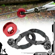 Aluminum Red Recovery Ring Snatch Ring 41000lb Amp 2x Black Synthetic Soft Shackle