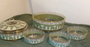 Vintage-China-Set-of-5-Dishes-Victorian-decorated-Green-White