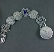 Antique Silver Love Token Bracelet Enamel Family Initial H Mamma Clasp