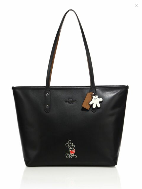 NWT Disney X Coach Mickey City Tote Bag BLACK Smooth Calf Leather LIMITED  56645