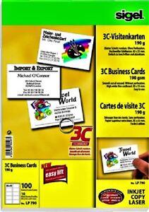 Details Zu Visitenkarten 3c Sigel Din A4 10blatt 100 St Set Hochweiß Glatt 190g M 85x55mm
