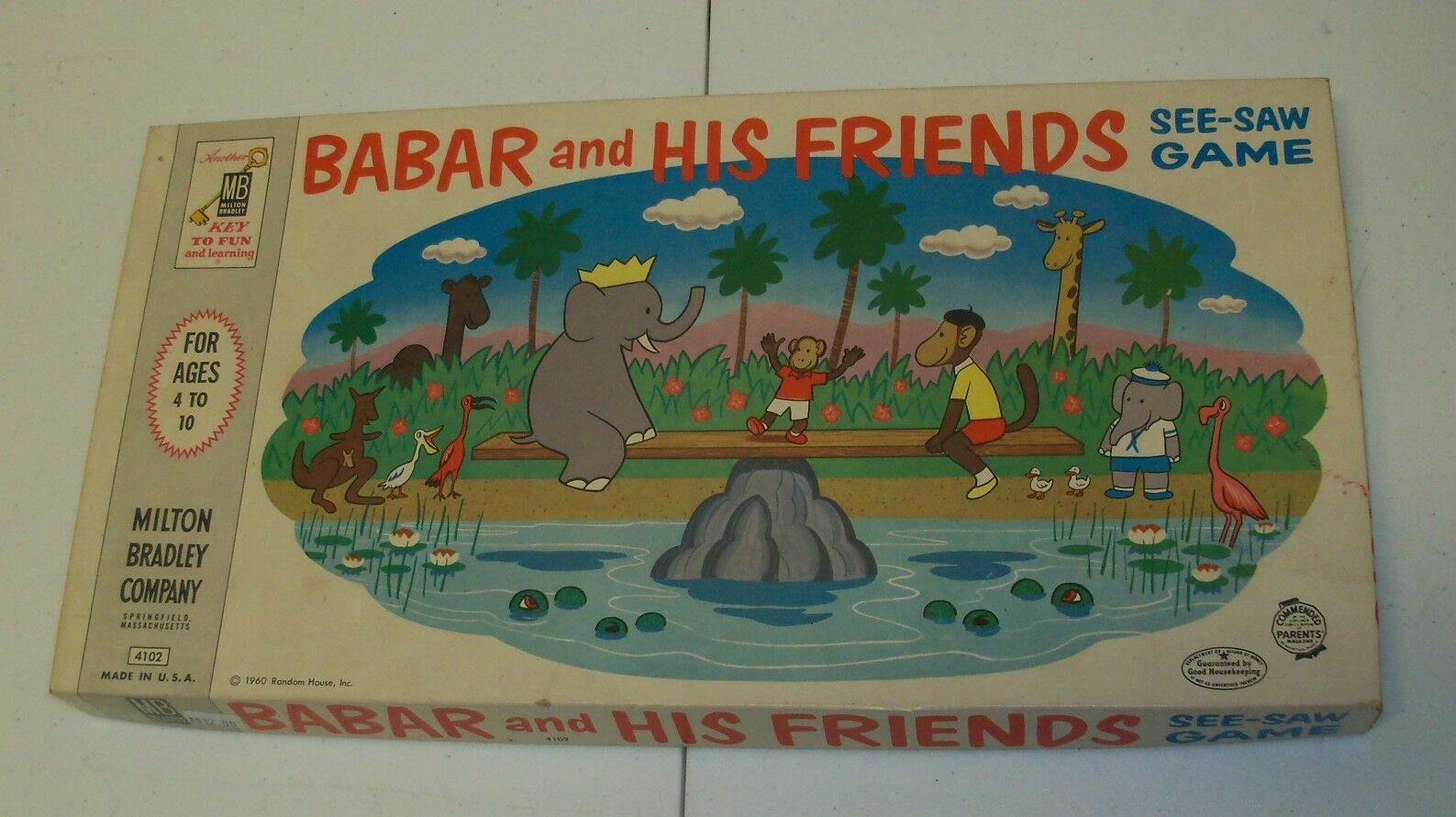 Rare 1960 BABAR ELEPHANT & Friends See-Saw MB Game MIB Box is gorgeous  Complete