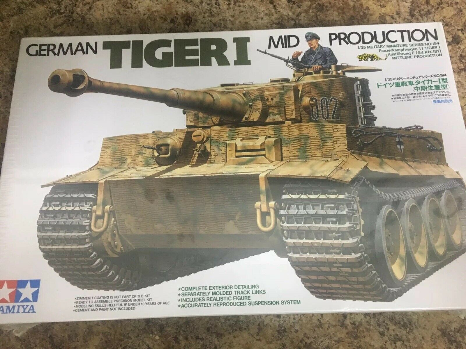 Tamiya 35194 1//35 Model Kit WWII German Panzer VI Tiger I Ausf.E Mid Production