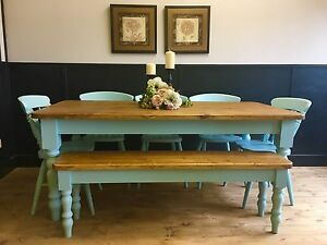 6ft-Pine-Farmhouse-Dining-table-Chairs-and-Bench-Handmade-Farrow-and-Ball