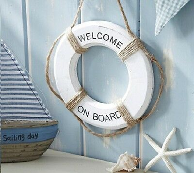 Nautical Wooden Welcome Aboard Buoy / Life Ring Hanger / Hanging Decoration