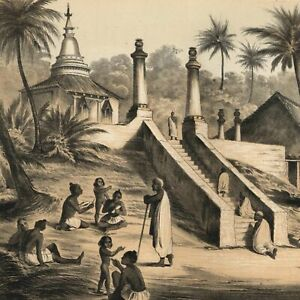 Ceylon-Buddhist-temple-Ackermann-1856-Perry-Expedition-old-litho-view-print