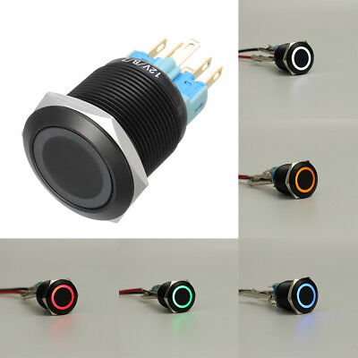 12V 5 Pin 19mm LED Light Push Button Latching Switch Flat Head IP65 Stainless