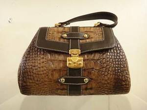 Image Is Loading Barbara Milano Brown Leather Croc Satchel Handbag Purse
