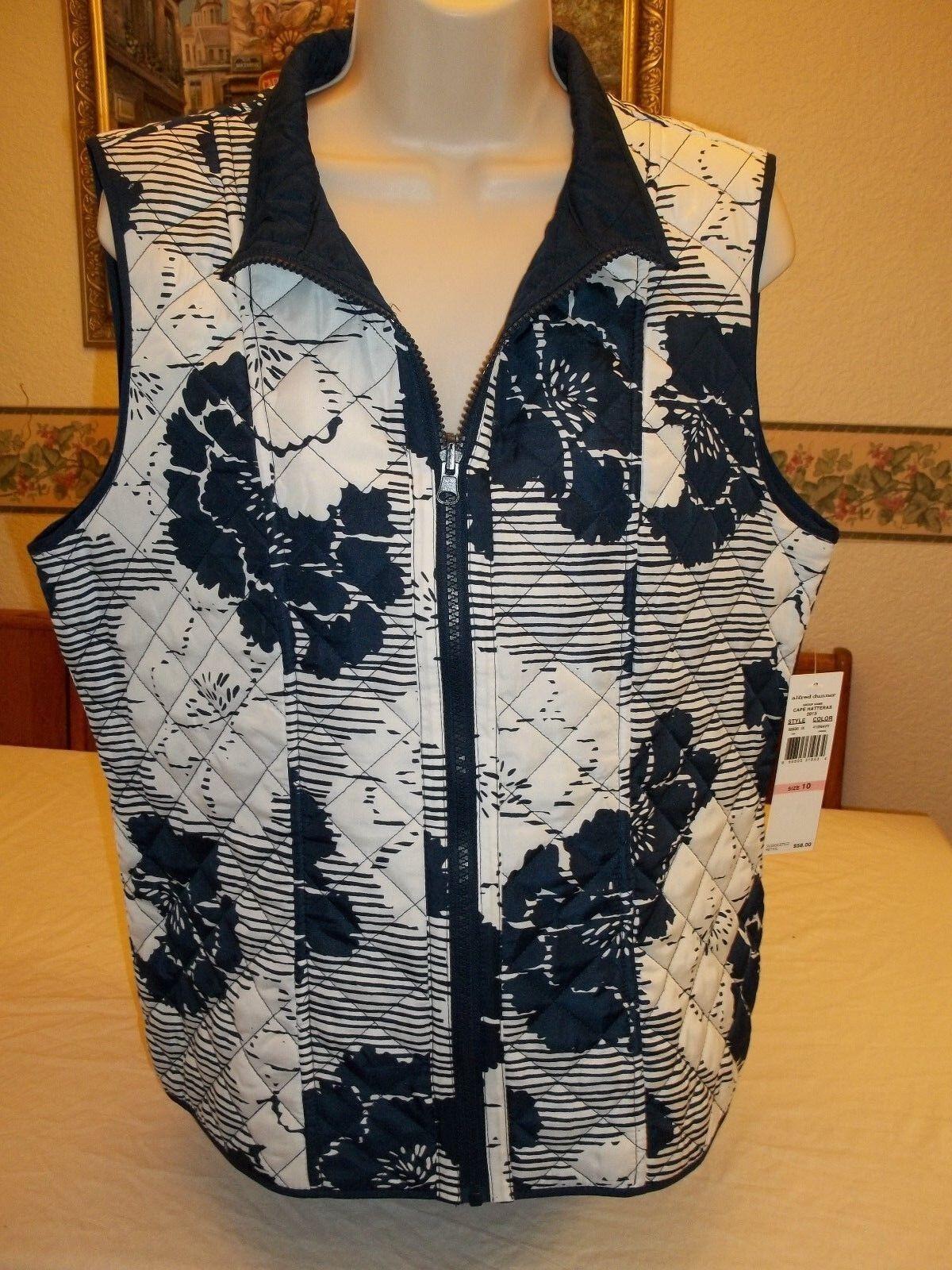 Women's Alfred Dunner Cape Hatteras Full Zip Vest Navy Size 10 NEW