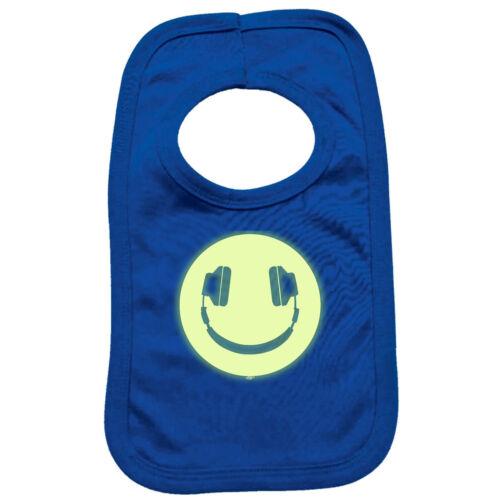 Funny Baby Infants Bib Napkin Headphone Dj Smile Glow In The Dark