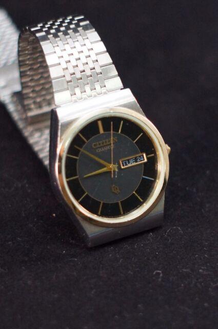Men Citizen Watch Cq 6101 T15588kt Black Gray Face Silver Gold Case Steel Band For Sale Online Ebay