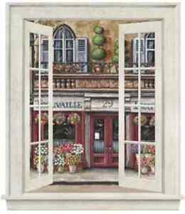 Wallpaper-Mural-Window-Looking-Out-To-A-Floral-Shop-on-a-French-Street