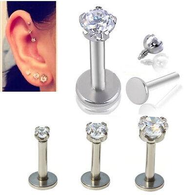 "1pc 16G 1/4"" CZ Round Tragus Lip Monroe Helix Stud Cartilage Earring Piercing"