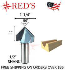 """Tideway Carbide Industrial LC03010804 1//2/"""" 90 V Groove 1//4/"""" shank router bit"""