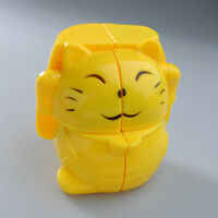 Yj 2x2 Yellow Fortune Lucky Cat Twist Puzzle Cube Kids Brain Development Toys