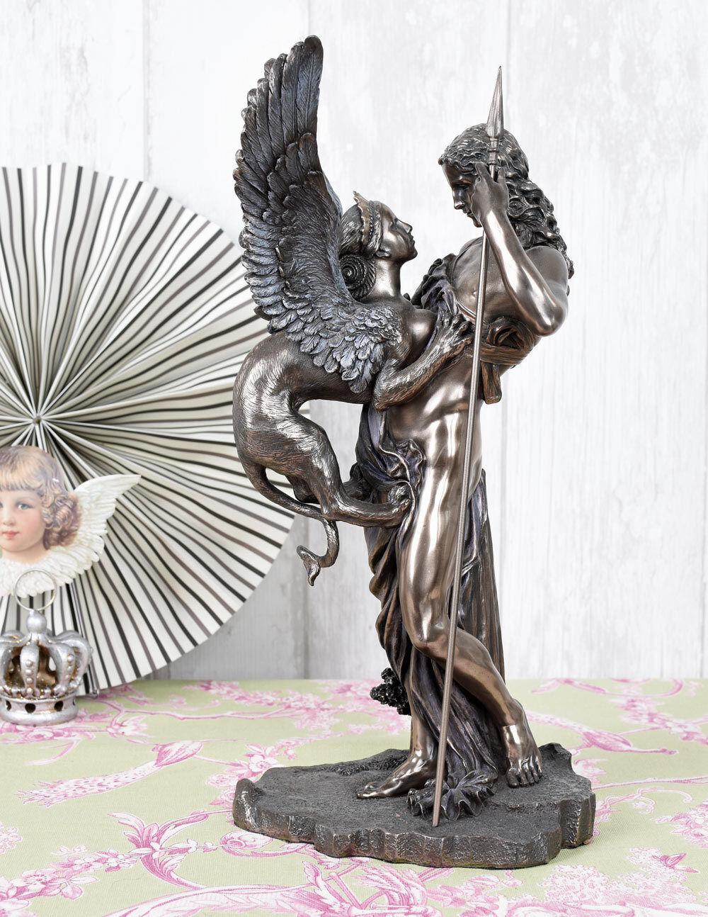 Sculpture Oedipe & Sphinx mythologie Grecque figure antique style Veronese signé