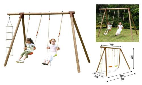 altalena in legno altezza 235 cm.  2 bambini + corda arrampicata robusta sicura