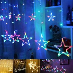 Star-Shaped-LED-Lights-String-Curtain-Window-Bedroom-Xmas-Fairy-Lamp-Home-Decor