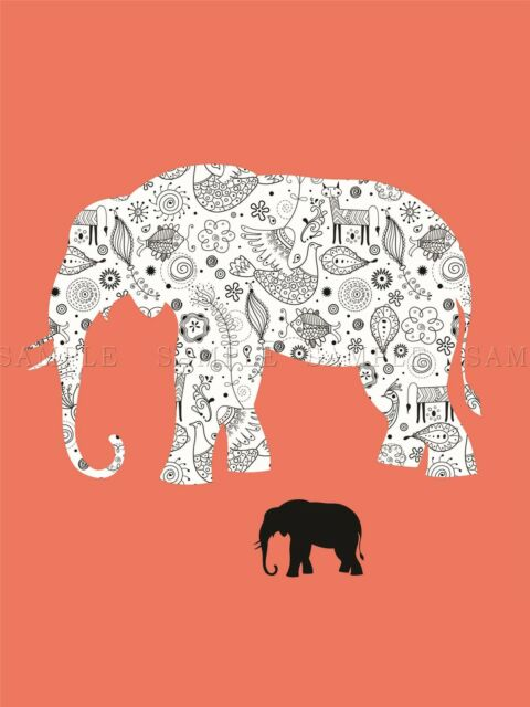 PAINTING ABSTRACT ELEPHANT DESIGN INSET OBJECTS VECTOR POSTER PRINT BMP10559