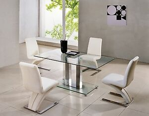 SAVIO SMALL GLASS CHROME DINING ROOM TABLE & 4 Z CHAIRS SET- 120cm ...