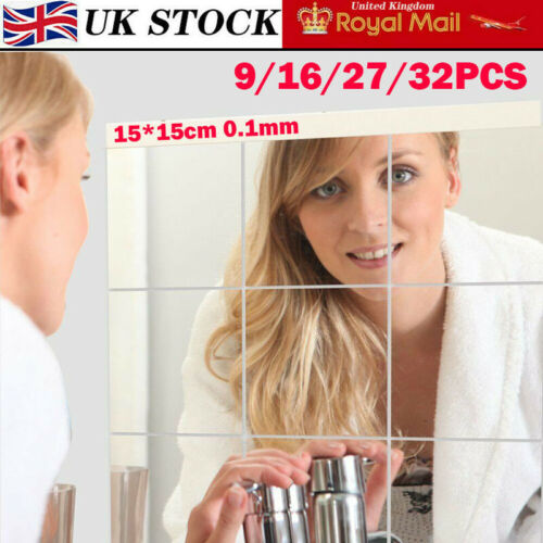 Glass Mirror Tiles Wall Stickers Square Self Adhesive Decor Stick On Art Home UK