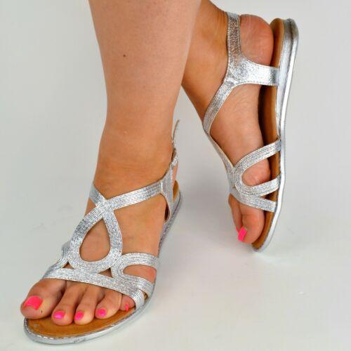 Señora sandalias plata blanco brillo zapatos planos verano actualmente