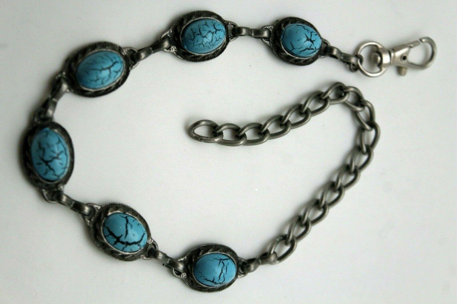Women Jewelry Ethnic Boot Bracelet Antique Silver Metal Chain Blue Charm Biker