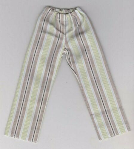 Homemade Doll Clothes Pretty Tan//Green//White Striped Pajama Pants fits Ken KP5