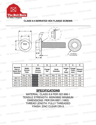 M10-1.5x20 Grade 8.8 Metric Serrated Hex Flange Screws Flange Bolts 100