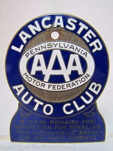 Old Enamel Lancaster Auto Club License Plate Topper Penna