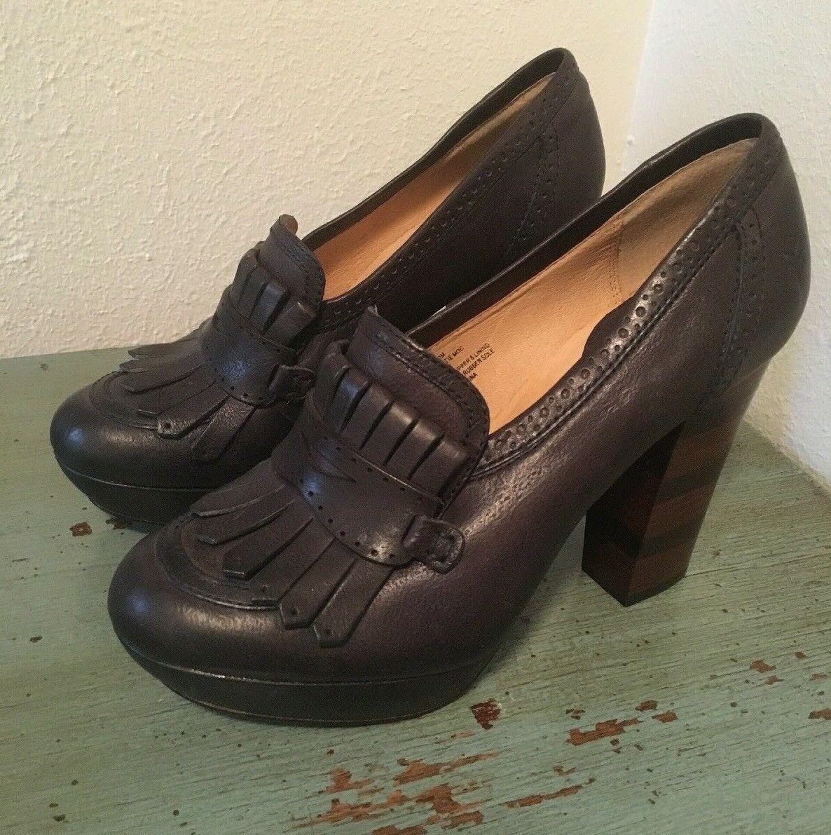 FRYE Size 10M Naiya Kiltie Moc Black Pumps Stacked Leather Heels shoes