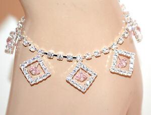 24b113b49ef7 ... CAVIGLIERA-donna-argento-strass-cristalli-ciondoli-rosa-cipria-