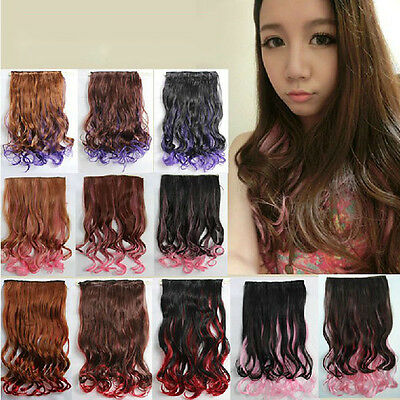 Women Multi Colors Full Head Clip in Synthetic Hair Extensions Human Made Hair