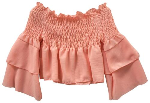 Filles Blouse Frill Ruffle Flounce manches Crop Gypsy Haut Chemisier 3 To 14 ans