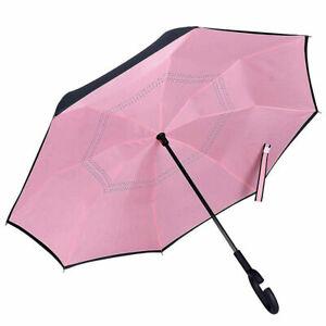 Inverted C-Handle Double Layer Umbrella Windproof Folding Upside Down UV S5