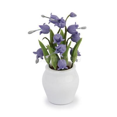 Dolls House Miniature Plant Flower Convallaria Majalis Purple Lily w/ Vase
