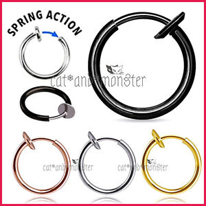 8 18mm Fake Piercing Hoop Ring Spring Clip On Lip Nose Septum