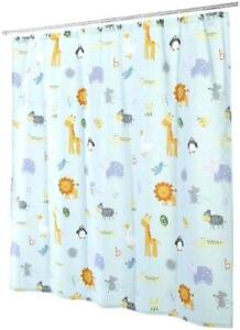 Details About Kassatex Bambini Bath Shower Curtain Fabric 72 X 72 Zoo Friends Kids Blue