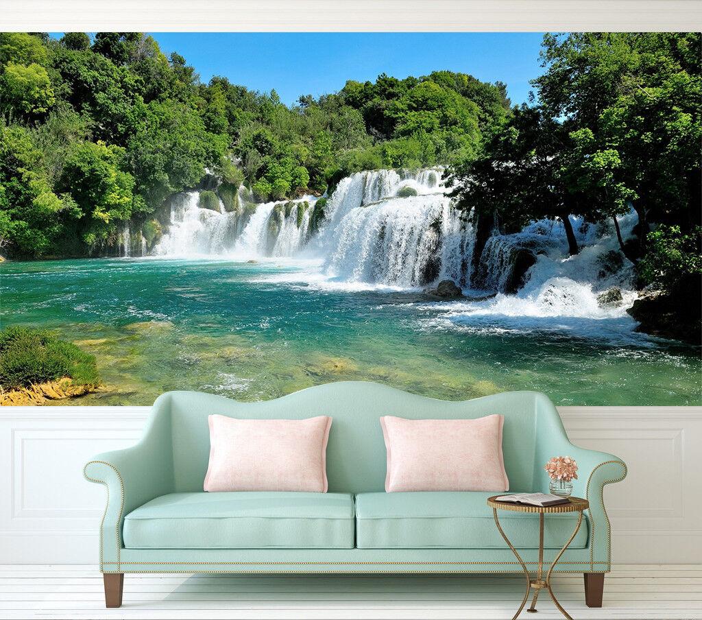 3D Waterfall Jungle 7 Wall Paper Murals Wall Print Wall Wallpaper Mural AU Lemon