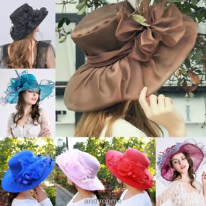 3e41407a1d5 Lady Church Kentucky Derby Hat Sheer Wide Brim Dress Wedding Tea ...